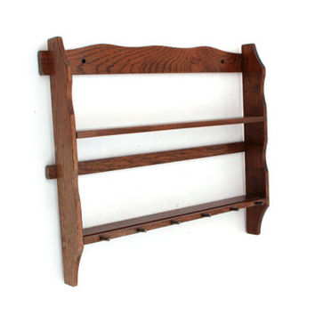 Vintage Wooden Spice Rack, Wooden Kitchen Rack, Wood wall shelf with hooks, Rustic Kitchen Decor
