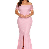 Plus Size Slash Neck Split Women's Maxi Dress