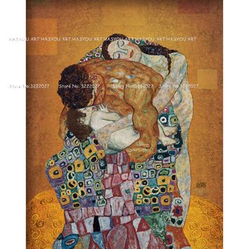 art portrait Oil painting The Family by Gustav Klimt Paintings Wall Art Picture Home Decor Bronze Paintings Sets for Living Room