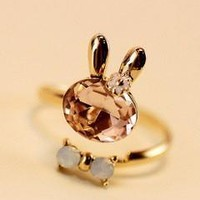 Jewelry New Arrival Gift Shiny High Quality Crystal Rabbit Butterfly Stylish Couple Ring [6056998721]