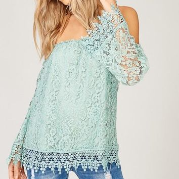Summer Romance Lace Top - Sage
