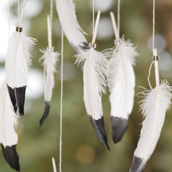 Woodland Mobile, Feather Decor, Black and White Dreamcatcher Mobile, Native American Decor.