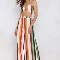 Get Straight to the Point Striped Bra Top and Pants Set