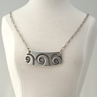 Free Shipping Jewelry - OCEAN WAVES, BEACH Waves, Silver Pendant Necklace by Cheydrea