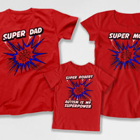 Matching Family Shirts Autism Superhero T Shirts Autism Speaks Autistic Children Spectrum Autism Is My Superpower Bodysuit DN-4(19-26-33)