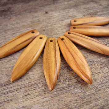 7 Hand Carved Surfboard Pendants, Olive Wood Surfboard Charms, Handmade Wood Necklace Pendants, Bulk Charms For Jewelry Necklace Making