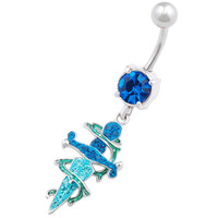 Urban Designs Thorn Dagger Dangle Aquamarine Crystal Belly Button Ring For Girls [Gauge: 14G - 1.6mm / Length: 10mm] 316L Surgical Steel & Crystal