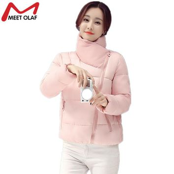 2017 Women Winter Autumn Thin Coats and Jackets Student School Bread service Oblique zipper Wide Waisted Female Jacket YL746