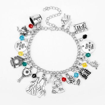 Beauty and the Beast Charm Bracelet Cup Kettle Beast Prince and Belle Princess Bracelets For Women Fashion Gifts