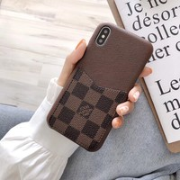 LV Damier Card Holder Protective Phone Case - Brown