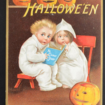 Halloween Postcard, Clapsaddle Postcard, Ellen Clapsaddle Halloween, Halloween Ghosts Children Story, Halloween Ephemera, Antique Postcard