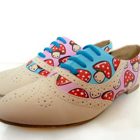 Hand Painted Toad stool Brogues  Sz UK 4 US 65 by PonyChopsShop