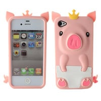 Fosmon 3D Cute Pink Pig Silicone Protector Case for Apple iPhone 4S / 4 (Pink)