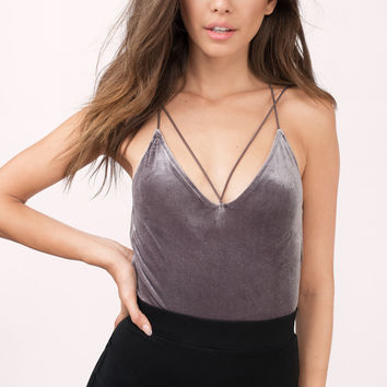 Mariko Criss Cross Velour Bodysuit