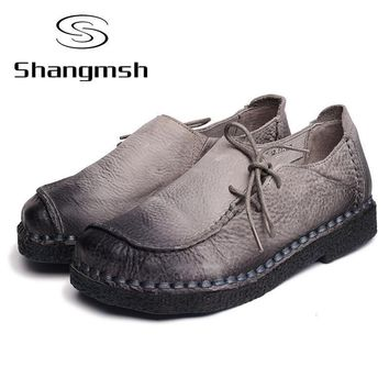 handmade vintage women s shoes genuine leather female moccasins loafers soft cow muscl  number 1