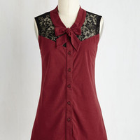 Mid-length Sleeveless Make a Mission Statement Top in Burgundy
