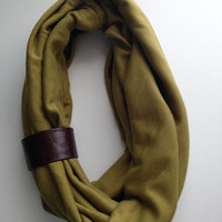 Leather Wrapped Olive Green Infinity Scarf