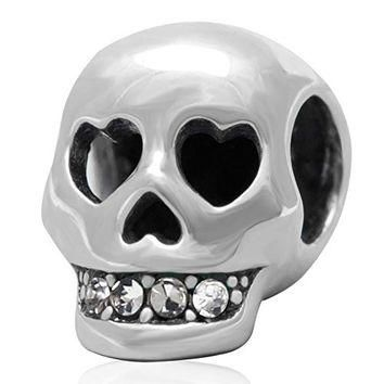 925 Sterling Silver Heart Skull Crystal Charm Beads Fit Pandora Charms