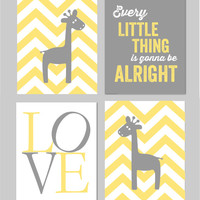 "Yellow and Gray Nursery Three Little Birds Every Little Thing is Gonna Be Alright Giraffe Bob Marley Nursery Art Set of 8""x10"" prints"