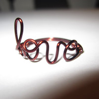Brown Love Ring Wire Wrapped