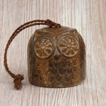 Vintage Owl Bell - Mid-Century Modern Mod Brown Rustic Made in Japan Retro Tan Ceramic Bird Short Stout Brown Feather Collectible Texture