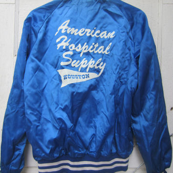 80s Shiny Blue Houston Baseball Jacket, Men's S-M, Women's M-L // Vintage Sponsor Varsity Jacket