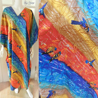 WINLAR One Size Caftan Mumu ,Tropical Tunic Dress, Rainbow Bird Print Plus Size Dress