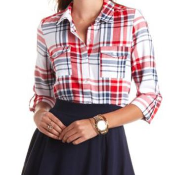 Long Sleeve Plaid Button-Up Top by Charlotte Russe - Red Combo