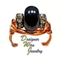 DWJ0319 Gorgeous Blue Sandstone Solitaire Copper Wire Wrap Ring All Sizes