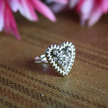 Sparkle of My Heart - Silver Rhinestone Heart Adjustable Ring