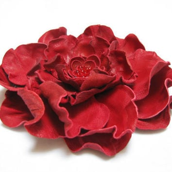 Handmade leather Red flower pin brooch by ProninA on Etsy