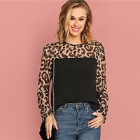 Ladies Long Sleeve Blouse Shirt Women Sheer Leopard Yoke Top Patchwork Shirts Womens Tops Blouses