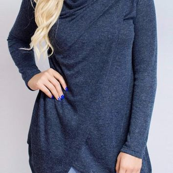 Dark Blue Irregular Buttons Cowl Neck Long Sleeve Fashion Sweatshirt