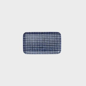 Fog Linen Work Coated Trays Blue Plaid