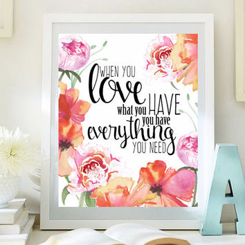 Delicieux Love Inspirational Print Teen Room Decor Digital Print Dorm Wall Art  Motivational Art Romantic Quotes Love