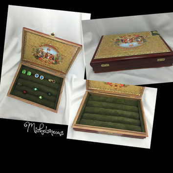 Custom My Father Cigars Cigar Box Jewelry Box Ring Stud Earring & Cuff Link Holder Ring Cufflink and Jewelry Display by Michelaneous