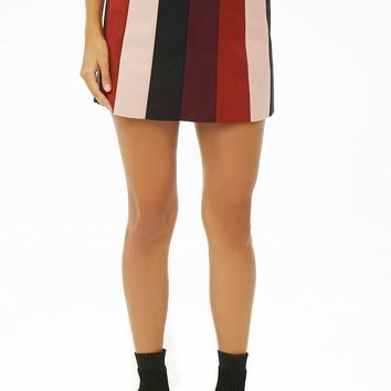 Faux Suede Colorblock Mini Skirt