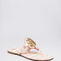 Tory Burch Flat Thong Logo Sandals - Miller 2 Stripe