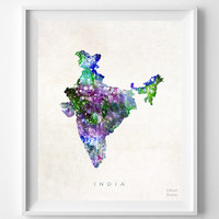 India Map, Asia, Print, New Delhi, Watercolor, Indian, Home Town, Poster, Country, Wall Decor, Painting, World, Living Room, Gift, Bed Room