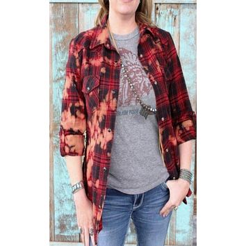 NuVintage Red Plaid and Gold Sequins Shirt