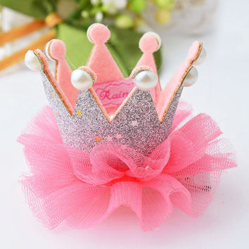 1 pcs Lovely Cute Girls Crown Princess Hair Clip