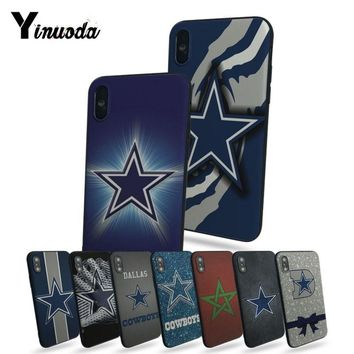 Yinuoda Dallas Cowboys Glitter Hot selling fashion design cell Case For iphone 7 7plus X 8 8plus And 5 5s 6s 6s Plus phone cover