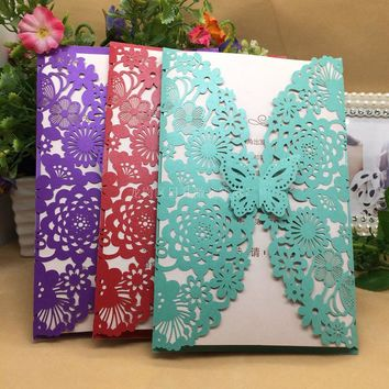 Laser Cut Wedding Party Invitation Card Romantic Decorative Cards Delicate Carved Pattern Wedding Invitations Party Supply 7z