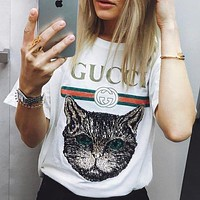 """ Gucci "" Hot letters print T-shirt top"