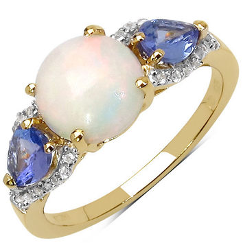 14K Yellow Gold Plated 2.21 Carat Genuine Ethiopian Opal, Tanzanite & White Topaz .925 Sterling Silver Ring