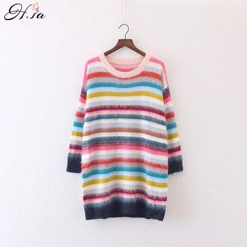 Sweaters Long Sleeve Colorful Striped Pullovers O neck Casual Rainbow Sweater Jumper Knitwear