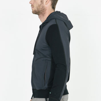Reigning Champ Black Knit Full Zip Hoodie With Contrasting Sleeve