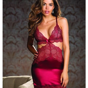 Shirley of Hollywood EL-SOH-31188 Stretch Satin & Lace gartered Chemise
