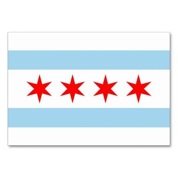 Patriotic table card with Flag of Chicago