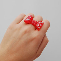 Cute red glitter polka dot bow barbie ring quirky kawaii japan lolita pin up emo